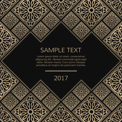 Vector golden frame. Square vintage card for design. Premium background in luxury style with space for text. Floral tiles.