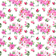 Seamless floral background. Fabric floral pattern. Textile pattern template.  Pink flowers. Watercolor floral background. Wedding invitation design.