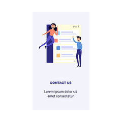 Young cheerful man standing, woman in casual clothing flying with chat clouds. Accessibility of information concept poster with text space. Happy people reading and chatting. Vector illustration