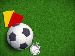 Soccer ball on the grass field of stadium
