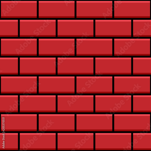 Simple Red Brick Wall Texture Flat Design Seamless