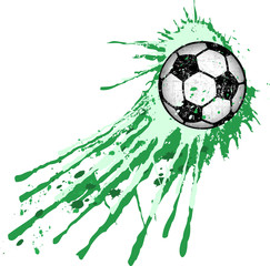Soccer ball / football illustration,with paint splash, isolated on white, vector