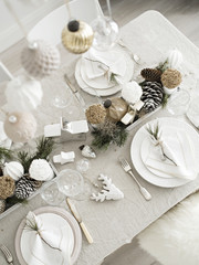 Top view of Table served for Xmas.