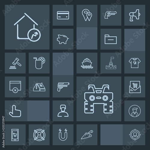 Modern, simple, dark vector icon set with increase, extreme, real