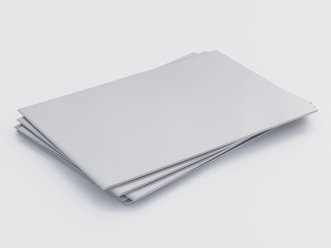 Pile Of Blank White Catalogs Or Magazines