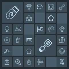 Modern, simple, dark vector icon set with uniform, storage, spatula, price, laboratory, technology, chef, architecture, shovel, music, id, military, cook, home, address, chief, frame, aircraft icons