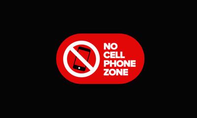 No Cellphone Zone Sticker Sign in Flat Modern Style Design