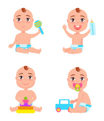 Set of Newborn Toddler Infants Playing with Rattle