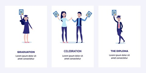 Students graduating from university with diplomas in their hands - happy and smiling young boys and girls holding certificates of completion of training. Vertical banners set, flat vector illustration