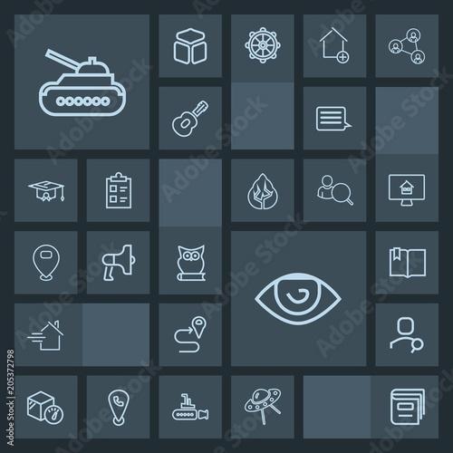 Modern, simple, dark vector icon set with web, navigation, eye, gun