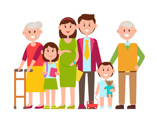Family Poster of Happy Members Vector Illustration