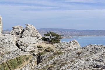 Deep crack in the rock. Crimea
