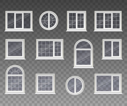 Set of closed square, rectangular, round and arched windows with transparent glass in a white frame. Isolated on a transparent background. Vector