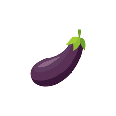 Ripe raw ggplant icon. Violet healthy food, vegetable full of vitamins. Fresh nutritions source, dieting and healthy life style symbol. Vector flat illustration isolated