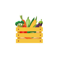 Ripe raw vegetables in wooden box Eggplants in ceramic pot, carrot and tomatos, broccoli icon. Violet healthy food vegetable with vitamins. dieting healthy life style. Vector illustration