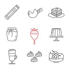 Confectionery linear icons set