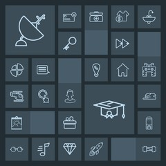 Modern, simple, dark vector icon set with room, technology, launch, picture, luxury, hotel, workout, education, blank, school, audio, fashion, public, button, space, eyeglasses, music, eye, gym icons