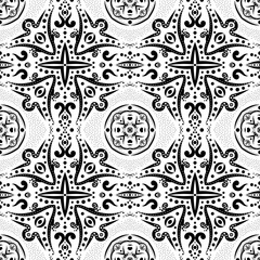 Seamless pattern with swirls and dots