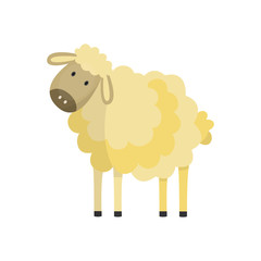 Cute white sheep, lamp with fluffy wool hand drawn smiling character icon. Farm animal, livestock used for meat and wool. Rural mammal. Vector flat isolated illustration