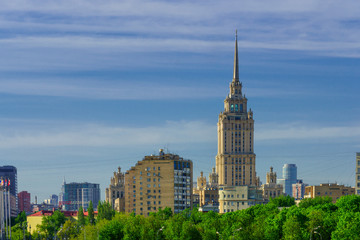 Old Skyscrapper Moscow, Russia - aerial view
