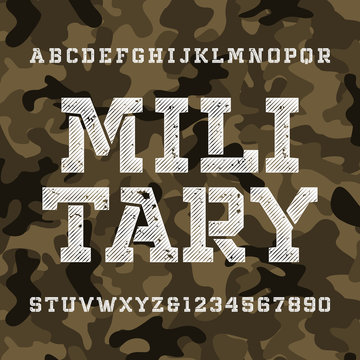 Military stencil alphabet font. Distressed type letters and numbers on green camo background. Vector typography for your design.