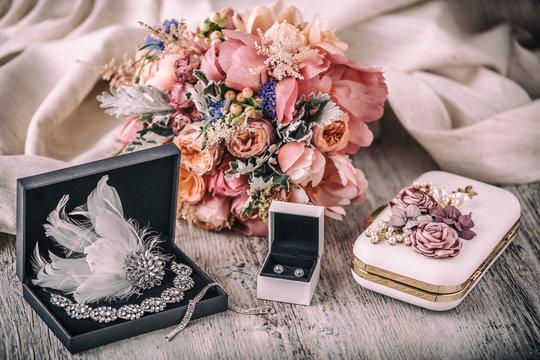 Wedding composition. Bride accessories