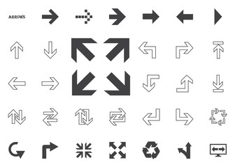 All directions arrows. Arrow vector illustration icons set.