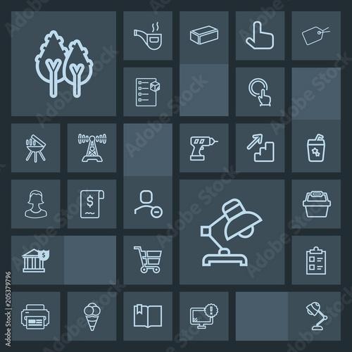 Modern, simple, dark vector icon set with bank, money, account