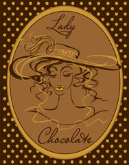 The girl in the hat. A vintage illustration. Lady.Drawn.The lady in the hat. Model beauty silhouette. The vintage-inspired look. In an oval frame.Chocolate. Lettering.Design for confectionery. Vector