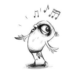 Niedlicher Wellensittich singt enthusiastisch ein Lied