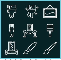 Set of 9 paint outline icons