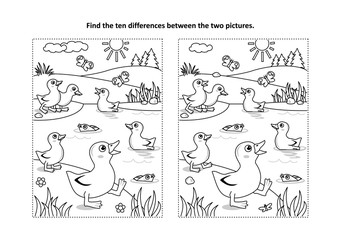 Find the ten differences picture puzzle and coloring page with little playful ducklings on the pond