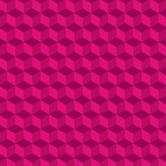 Geometric cube Vector Pattern. Pink Background.