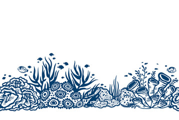 Seamless vector with coral reef.