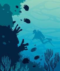 Scuba diver, coral reef, sea.