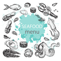 Octopus, squid, salmon, mussels, oysters, shrimps, lobster, fish. Hand drawn sketch illustration seafood menu