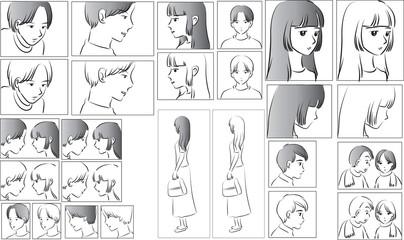 Fototapeta love story comic set