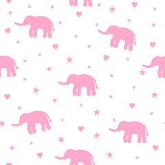 Seamless pattern with pink elephants, stars and hearts on the white background.