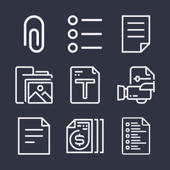 Set of 9 file outline icons