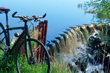 bicycle journey, Cycling trip, bike places hydraulic structures, water aerator