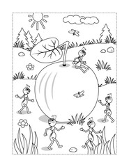 Summer or autumn joy themed coloring page with ripe apple lying on the ground and five busy ants planning what to do with it.