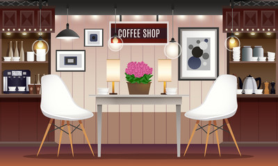 Coffee shop interior illustration