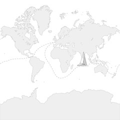 Globe Map with travel route and boat
