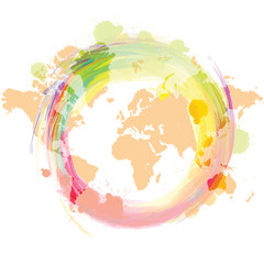 World map with colorful slatter background