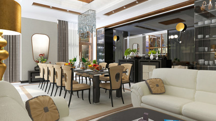 luxurious dining room interior. 3d Illustration
