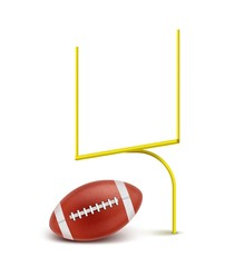 Gates and ball for American football on white background