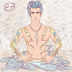 Zodiac. Vector illustration of the astrological sign of Cancer as a man with a naked torso. The illustration on decorative grunge background in retro colors