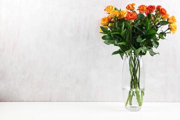 yellow orange roses light white background vase oval