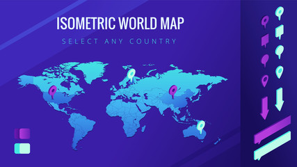World map isometric vector illustration. The world map with pins, arrows and bubbles. Country select and allocation concept. Design for infographic template. 3d illustration on ultraviolet background.
