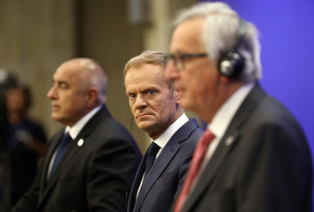 European Commission President Juncker, Council President Tusk and Bulgaria's Prime Minister Borissov address a news conference at the EU-Western Balkans Summit in Sofia